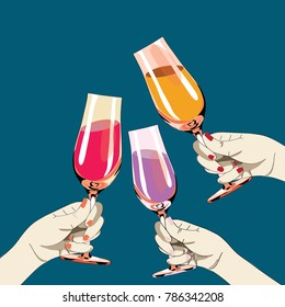 Three women's hands holding the glasses with drinks. Vector illustration on blue background
