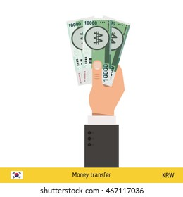 Three won in hand. South Korean won banknote vector illustration.