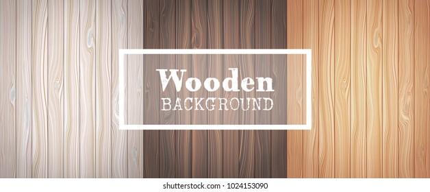 Three wood textured backgrounds in the form of wooden boards.  Vector illustration.