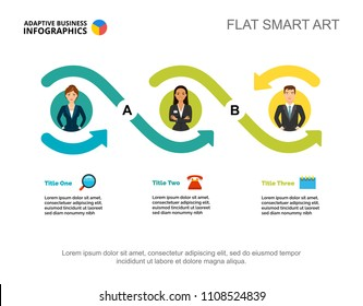 Three workers options process chart template for presentation. Vector illustration. Abstract elements of diagram, graph. Goal, planning, business or teamwork concept for infographic, report.
