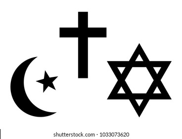 Three world religions symbols. Islam, Christianity and Judaism. Black silhouette. Vector illustration