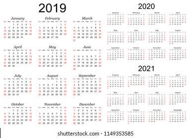 Three year calendar - 2019, 2020 and 2021 in white background.