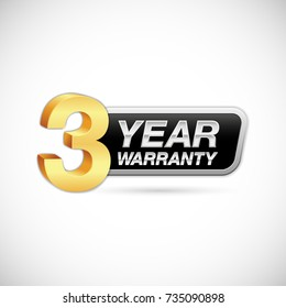 three year warranty golden and silver badge isolated on white background