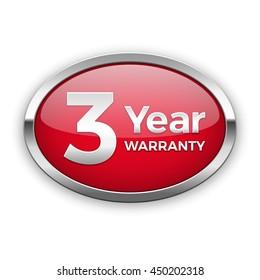Three year warranty silver badge, vector