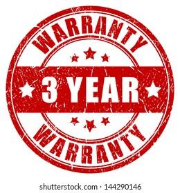 Three year warranty, vector stamp