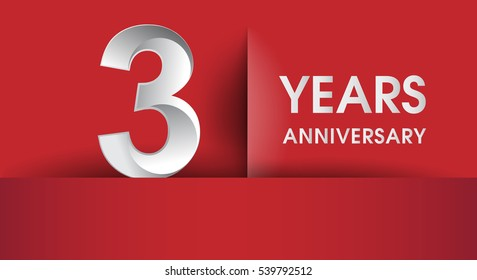 three Years Anniversary celebration logo, flat design isolated on red background, vector elements for banner, invitation card and birthday party.