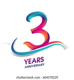 three years anniversary celebration logotype blue and red colored. 3rd birthday logo on white background.