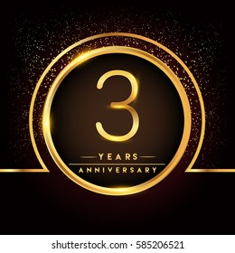 three years birthday celebration logotype. 3rd anniversary logo with confetti and golden ring isolated on black background, vector design for greeting card and invitation card.