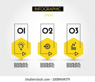three yellow info hexagons with dotted rectangle, concept of options