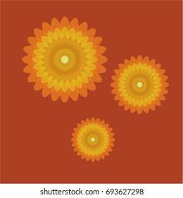 three yellow and orange gradient flowers on a dark orange background