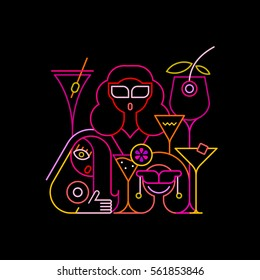 Three young beautiful women having a drink in a cocktail bar. Neon colors on a black background Cocktail Party vector illustration.