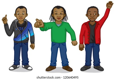Three young black African men: one is pointing his index finger as if explaining, one is pointing at something, and the other is holding up his hand