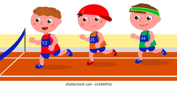 Three young boys running in a competition. Vector illustration
