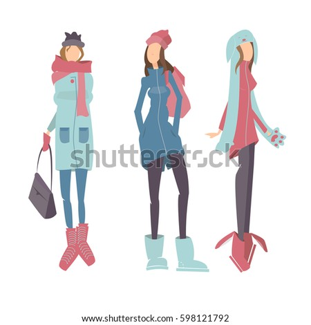 641c4c0331 Three young girls in warm clothes in winter.Stylish outfit. Vector  illustration