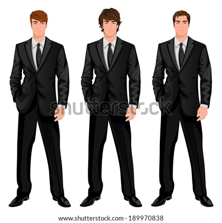 Three young handsome businessmen in formal suits with different brown hairstyles vector illustration