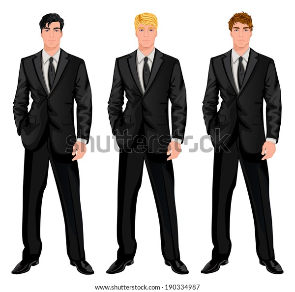 Three young handsome businessmen in formal suits with various hair color tints and haircut styles vector illustration