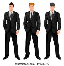 Three young handsome businessmen with trendy hairstyles for red, dark brown and chestnut haired man vector illustration