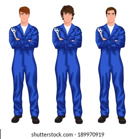 Three young handsome mechanic workers in overall with spanner, arms crossed with different hair styles vector illustration