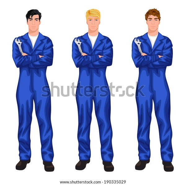 Three young handsome mechanic workers standing with spanner with various hair color and haircut styles vector illustration