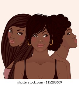 Three young pretty African American woman with different hairstyles