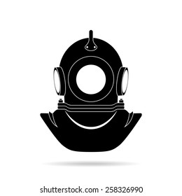 Three-bolt helmet diver, black silhouette on a white background. Vector illustration
