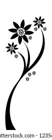 Three-branched flower silhouette