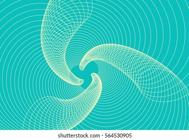 A three-branched wave vortex in blue and ivory