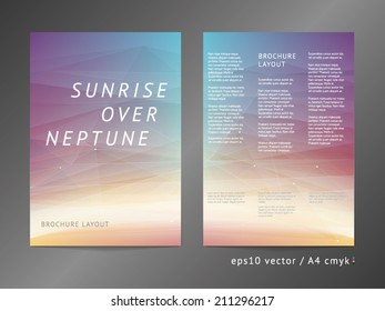 Three-column double sided vector catalog / leaflet / brochure / cover layout template with modern colorful polygonal deep space illustration. A4, eps10, cmyk.