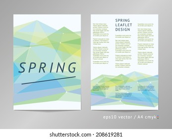 Three-column double sided vector leaflet / brochure / cover / flyer layout template with polygonal background and season colored foreground. Spring. Eps10, A4, cmyk.