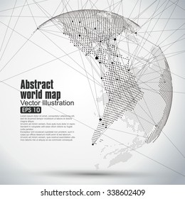 Three-dimensional abstract planet, Dot world map consisting of, representing the global,  Global network connection,international meaning.