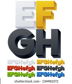 Three-dimensional alphabet. Vector illustration of 3d font characters. Plastic style. Letters efgh