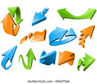 Three-dimensional Arrow Signs Set of different shapes
