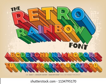 A three-dimensional block letter alphabet in rainbow colors in a late 1960s or early 1970s graphic style.