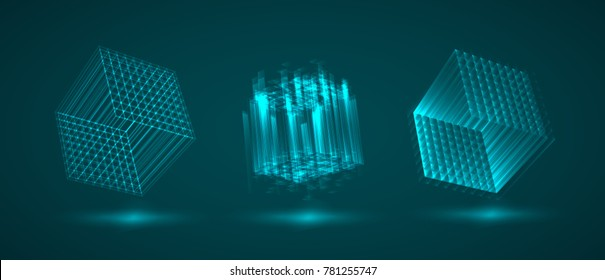 a three-dimensional cube of luminous lines. abstract vector set