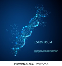 Three-dimensional dna molecule consist of randomly moving particles . Dotted quicksand wave at motion . Abstract vector illustration Science concept background. Destroyed structure. Nano technology.
