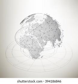 Three-dimensional dotted world globe with abstract construction and molecules on gray background, low poly design vector illustration.