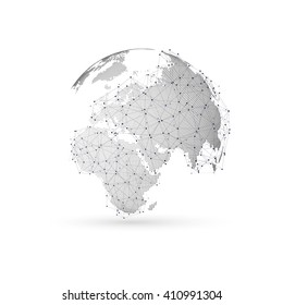 Three-dimensional dotted world globe with abstract construction and molecules on white background, low poly design vector illustration.
