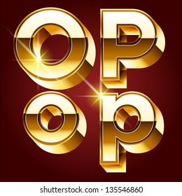 Three-dimensional golden alphabet. Vector illustration of 3d realistic font characters of gold. Letters o p