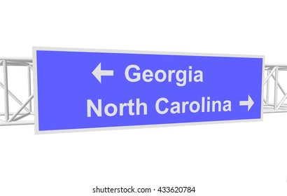 three-dimensional illustration of a road sign with directions: Georgia; North Carolina