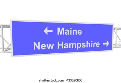 three-dimensional illustration of a road sign with directions: Maine; New Hampshire