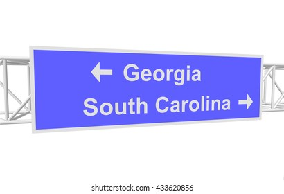 three-dimensional illustration of a road sign with directions: Georgia; South Carolina