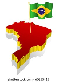 three-dimensional image map of Brazil with the national flag