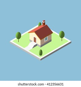 Three-dimensional isometric village buildings, Real estate icon