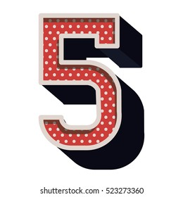 three-dimensional number five dotted in red color