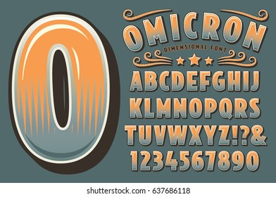 A three-dimensional original typographic design in a vintage deco style. Also includes numerals, some punctuation and flourishes.