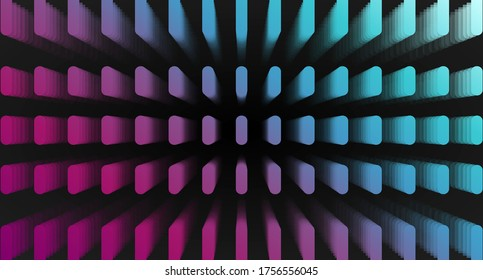 A three-dimensional pattern consisting of colored elements isolated on a black background. Social media background. Web design. Vector illustration
