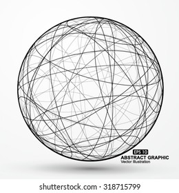 Three-dimensional sphere wireframe curve messy composition, abstract vector graphics.