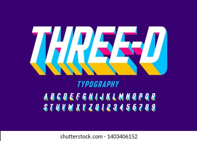 Three-dimensional style modern font design, alphabet letters and numbers vector illustration
