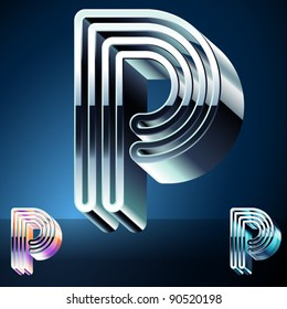 Three-dimensional ultra-modern alphabet from chrome or metal letters. Character p