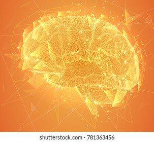 three-dimensional vector cyber brain. neural network mega-data processing, template interface design on background.